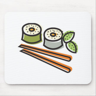 sushi rolls and chopsticks mouse pad