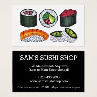 Sushi Rolls Japan Japanese Food Restaurant Chef Business Card