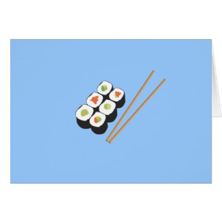 Sushi rolls with chopsticks card