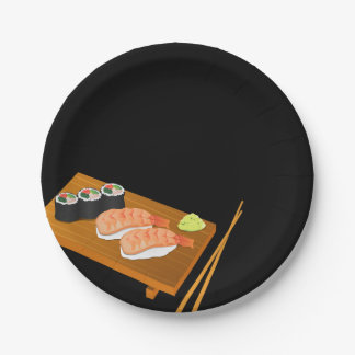 Sushi Selection on Wooden Board Black 7 Inch Paper Plate