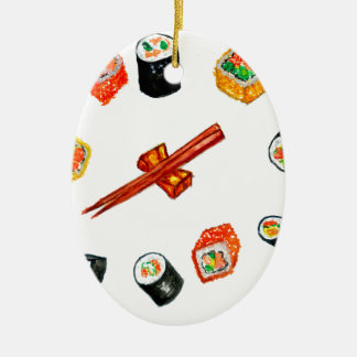 Sushi Set Watercolor2 Ceramic Ornament
