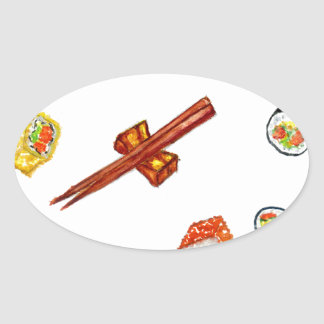 Sushi Set Watercolor2 Oval Sticker