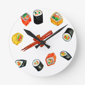 Sushi Set Watercolor2 Round Clock