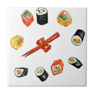 Sushi Set Watercolor2 Tile