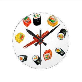 Sushi Set Watercolor2 Wall Clock