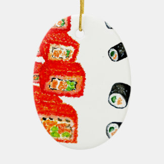 Sushi Set Watercolor3 Ceramic Ornament