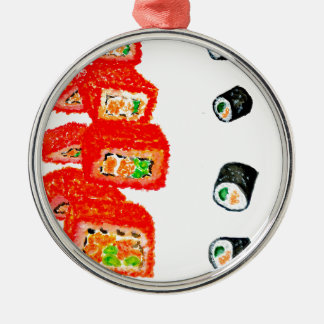 Sushi Set Watercolor3 Metal Ornament