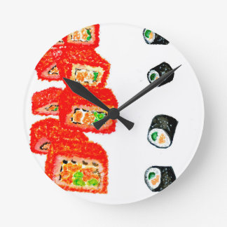 Sushi Set Watercolor3 Round Clock