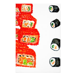 Sushi Set Watercolor3 Stationery