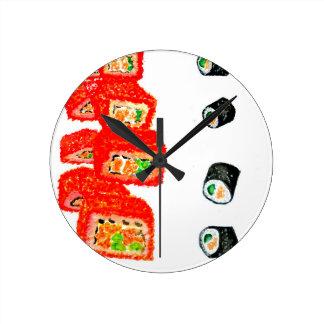 Sushi Set Watercolor3 Wallclock