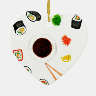 Sushi Set Watercolor Ceramic Ornament