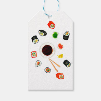 Sushi Set Watercolor Gift Tags