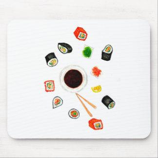 Sushi Set Watercolor Mouse Pad