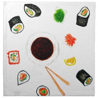 Sushi Set Watercolor Napkin