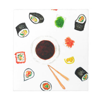 Sushi Set Watercolor Notepad