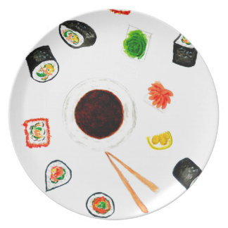 Sushi Set Watercolor Party Plates