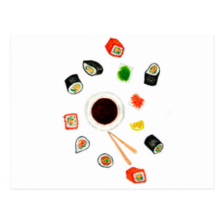 Sushi Set Watercolor Postcard