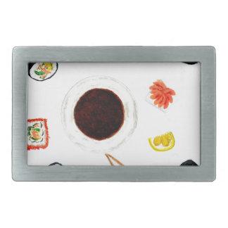 Sushi Set Watercolor Rectangular Belt Buckles