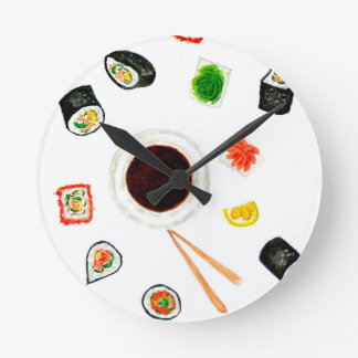 Sushi Set Watercolor Round Clock