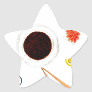 Sushi Set Watercolor Star Sticker