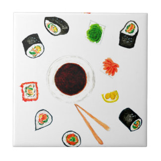 Sushi Set Watercolor Tile