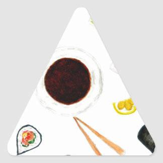 Sushi Set Watercolor Triangle Sticker