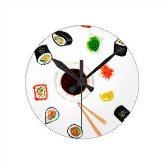 Sushi Set Watercolor Wall Clock