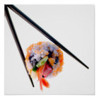 Sushi Shrimp Roll Black Chopsticks on White Japan Poster