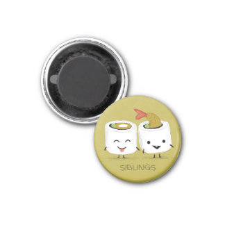 Sushi Siblings 1 Inch Round Magnet