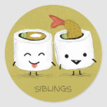 Sushi Siblings Round Stickers