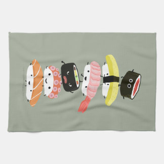 Sushi Stack - A Tower of Happy Sushi Friends Kitchen Towel