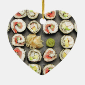 Sushi With Wasabi And Ginger Ceramic Ornament