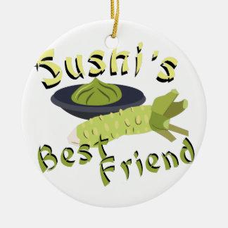 Sushis Friend Round Ceramic Ornament