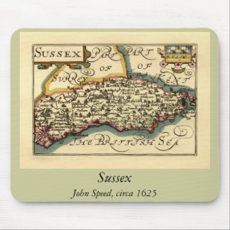 Sussex County Map, England Mouse Pad