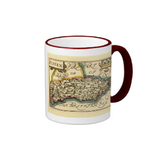 Sussex County Map, England Ringer Coffee Mug