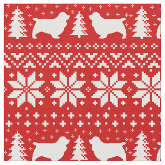 Sussex Spaniel Silhouettes Christmas Pattern Fabric