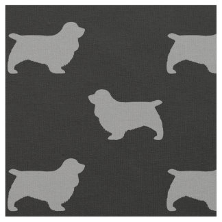 Sussex Spaniel Silhouettes Pattern Fabric