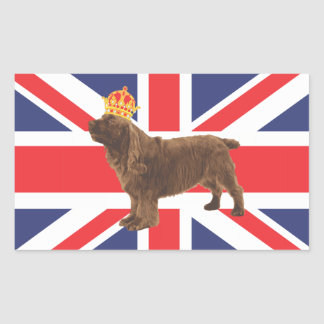Sussex Spaniel with Crown and Union Jack Sticker