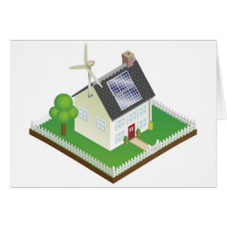 Sustainable renewable energy house greeting cards