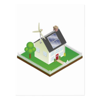 Sustainable renewable energy house postcards