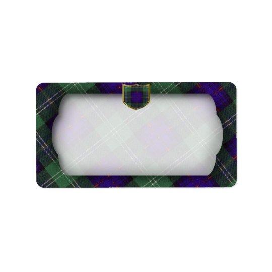 Sutherland Scottish Tartan plain label