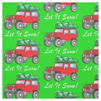SUV Hauling Christmas Tree: Let It Snow! Fabric