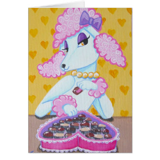 Suzette the Pink Poodle Valentine Greeting card