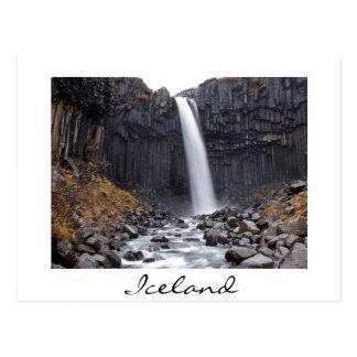 Svartifoss waterfall in Iceland white postcard