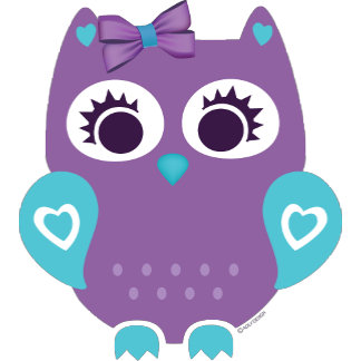 Purple Teal Girl Owl