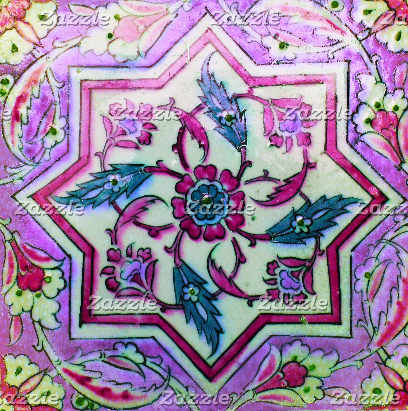 Pink and White Tile wit hints of Green