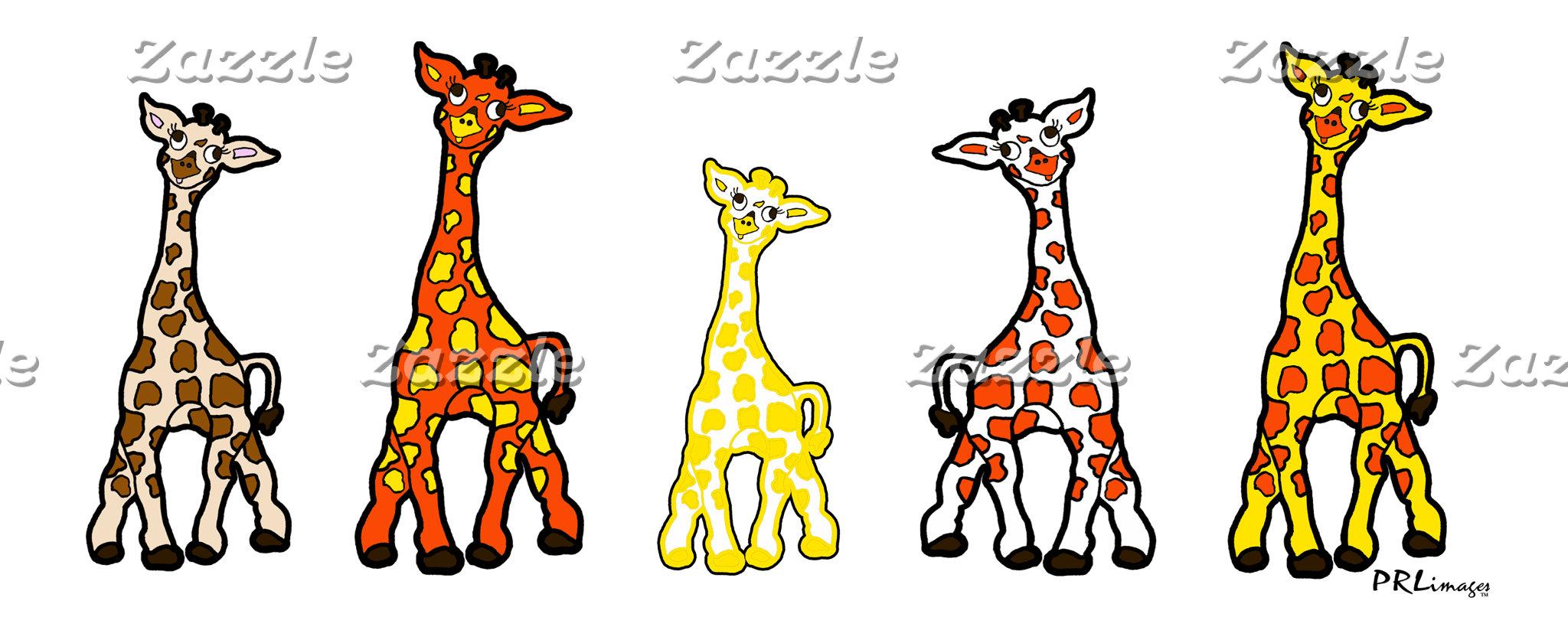 Baby Giraffes In A Row