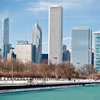 Chicago skyline across frozen Lake Michigan