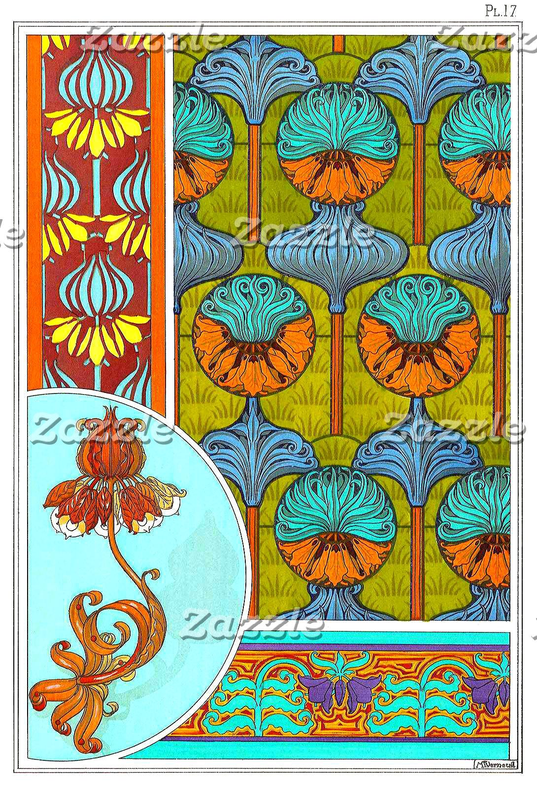 Art nouveau orange and turquoise floral print