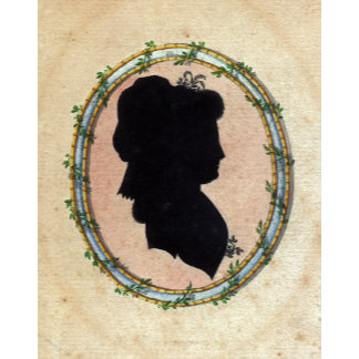 """Lady's Silhouette in Floral Frame Poster Print"""